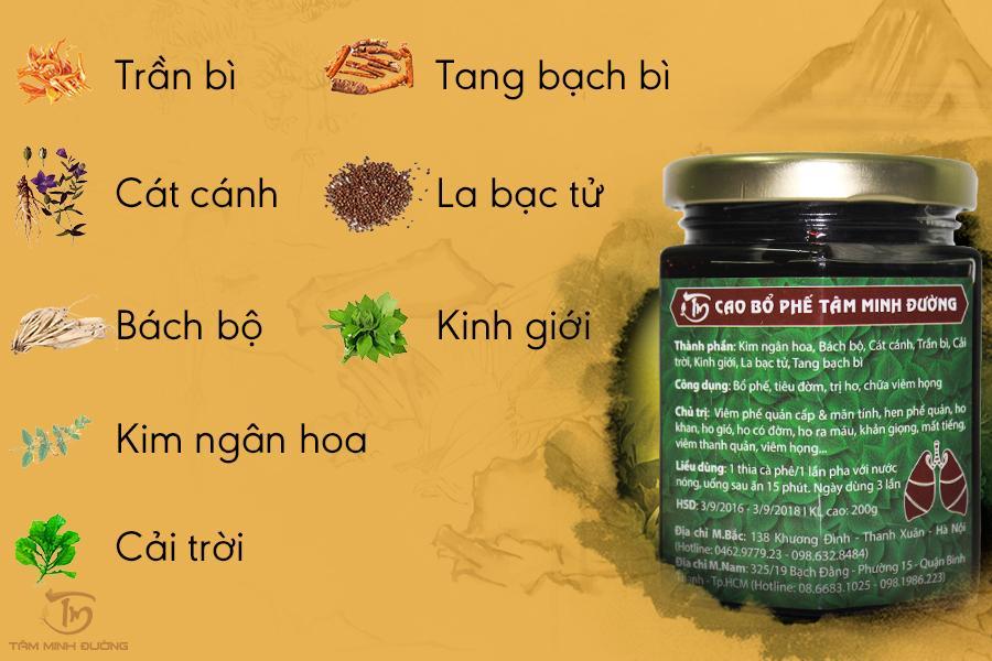 8 vị thảo dược kinh điển trong Cao Bổ Phế Tâm Minh Đường