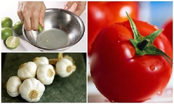 chữa viêm phế quản bằng tỏi, cà chua và chanh